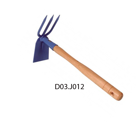 Gardening hoe and fork for tranplanting and cultivating.