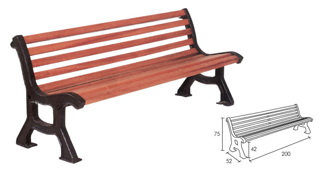 Banco de hierro y tablones de madera - Bancos de forja para exterior ...