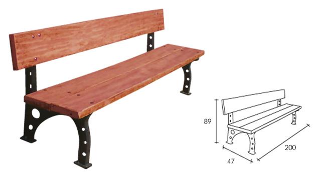 Banco con respaldo y asiento en madera caoba for Bancos merenderos de madera