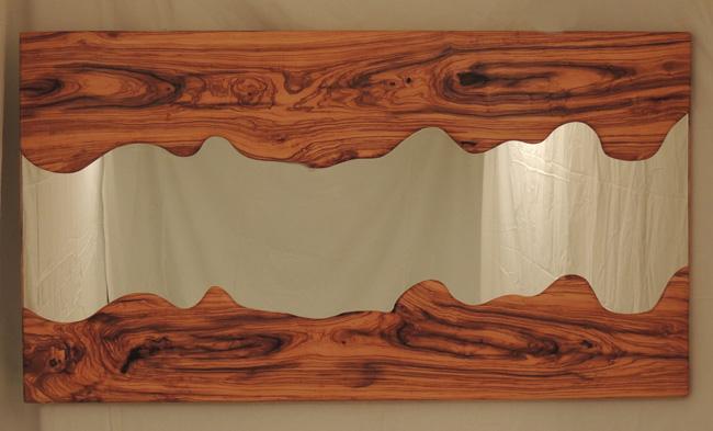 Espejo exclusivo de estilo sencillo en madera de olivo for Donde venden espejos grandes