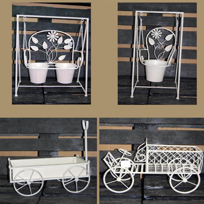Maceteros originales y decorativos con forma de carro columpio etc - Maceteros de forja ...