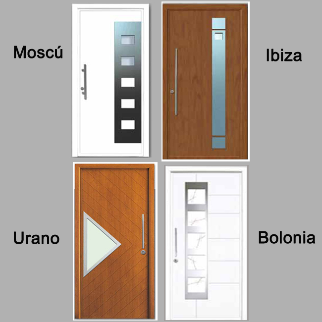 Puertas de calle de aluminio para viviendas modernas.