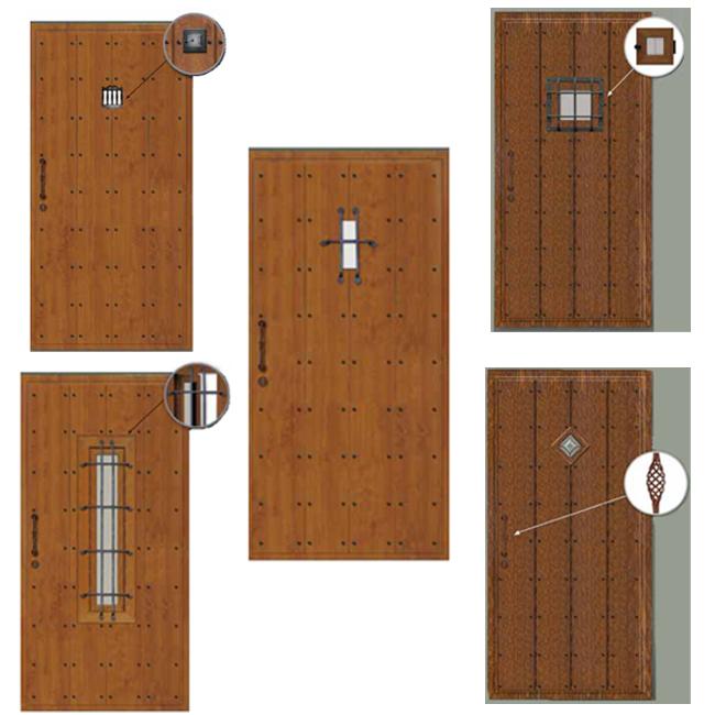 Puerta de calle de estilo r stico fabricada en aluminio - Puertas de entrada metalicas precios ...