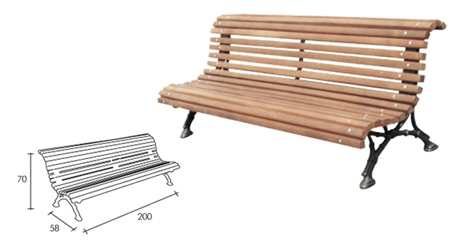 Outdoor wooden benches.