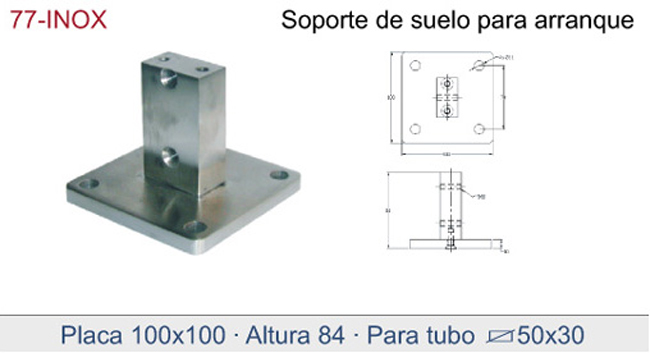 Square Plate Base Mounted Handrail Fixings